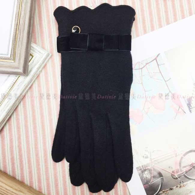 進口羊毛手套 素色 絲絨蝴蝶結 閃耀單鑽 保暖 黑色 手套