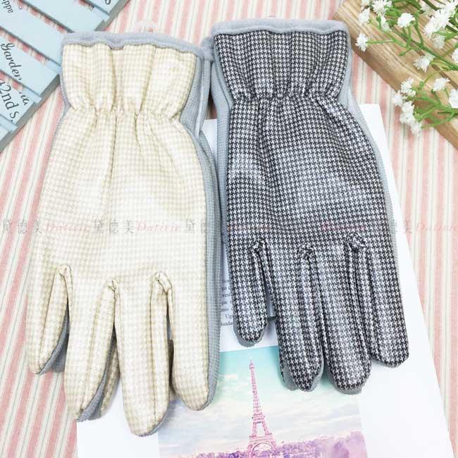 防風手套 防水 千鳥格紋 半刷毛 束口 保暖 防滑 2色 手套