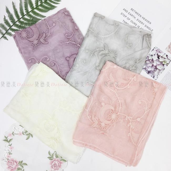 刺繡圍巾 薄紋圍巾 薄絲巾 花朵 藤蔓 四款