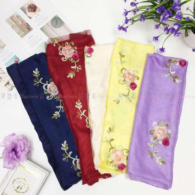 刺繡圍巾 薄絲巾 薄圍巾 中國風 花朵 彩色刺繡 五款