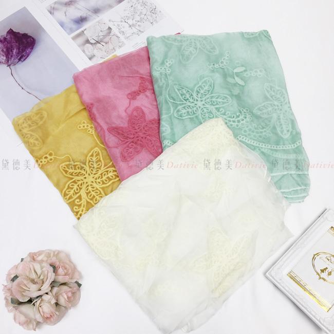 刺繡圍巾 薄圍巾 薄絲巾 花朵 刺繡 三款