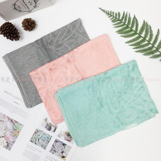 刺繡圍巾 薄圍巾 薄絲巾 印花 花朵 刺繡 三款