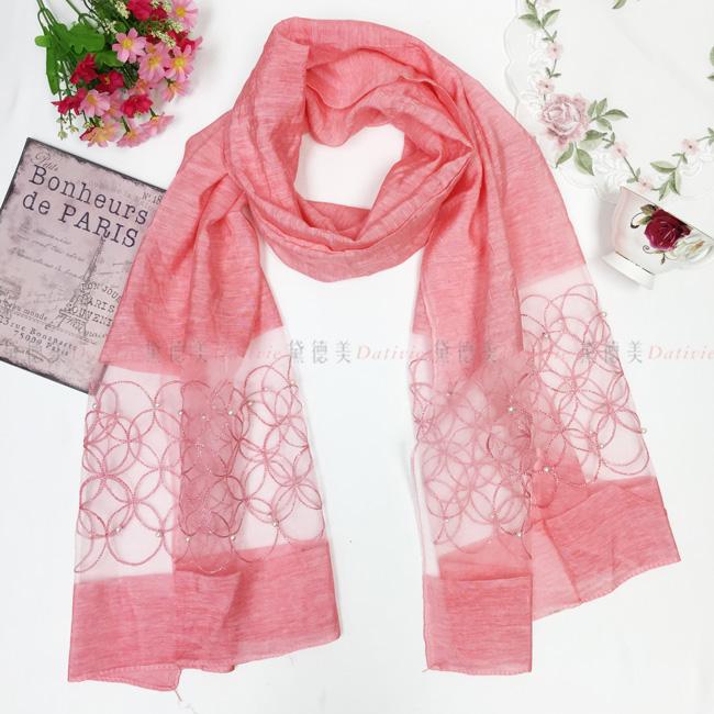 刺繡圍巾 薄圍巾 薄絲巾 圈圈 點綴 珍珠 刺繡