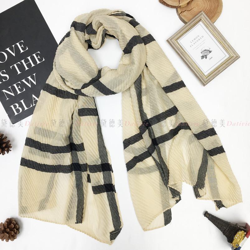 圍巾 波浪 線條 米 保暖 親膚