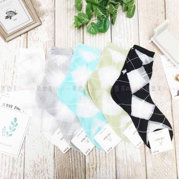 襪子 長襪 菱格紋 撞色 透明 5色 韓國襪