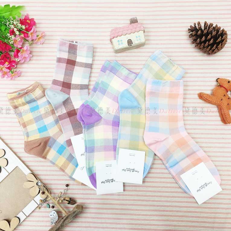 襪子 長襪 格紋 格子 繽紛配色 5色 韓國襪