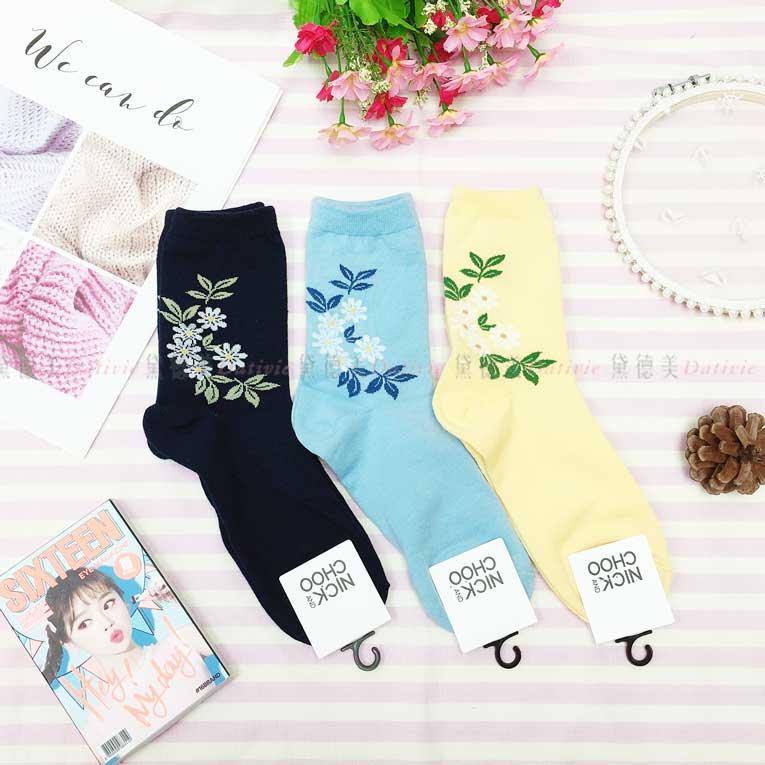 襪子 長襪 白花 葉子 3款 韓國襪