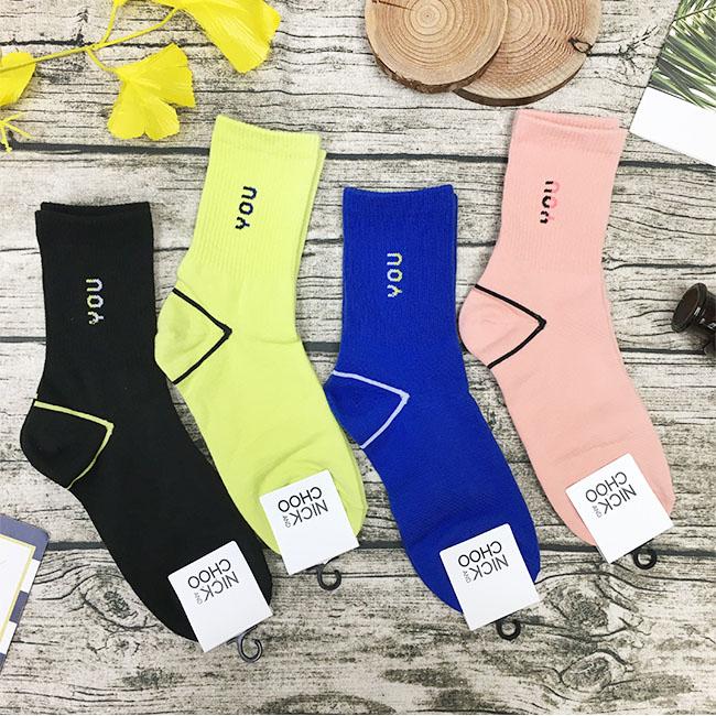 韓國 英文字 黑 螢光綠 藍 粉 中長襪 成人襪 四款 韓國進口