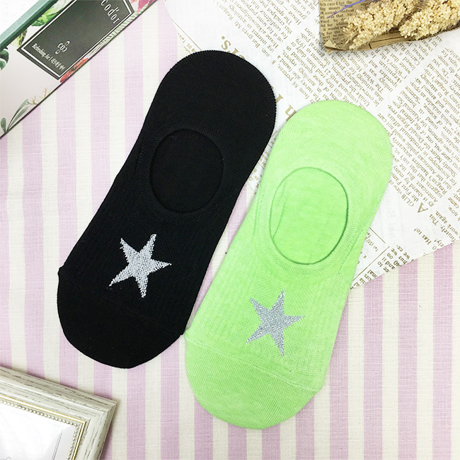 韓國 星星 黑 螢光綠 短襪 船型襪 成人襪 兩款 韓國進口