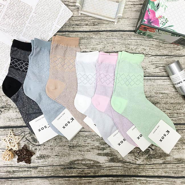 韓國 菱形格紋 金蔥 黑 灰 咖 白 粉 綠 中長襪 成人襪 六款 韓國進口