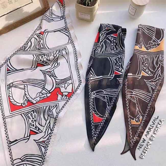 薄圍巾 薄絲巾 馬 圖騰 線條 單色 氣質 親膚 白 黑 咖啡 三款