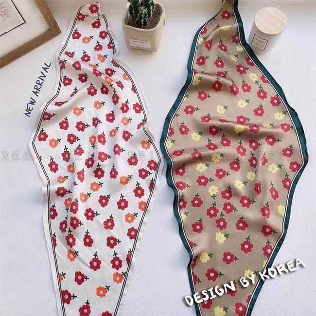 薄圍巾 薄絲巾 花朵 小圖騰 可愛 柔軟 親膚 兩款