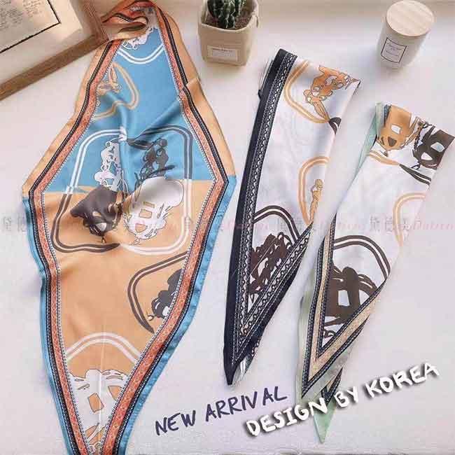 薄圍巾 薄絲巾 抽象畫 象形畫 撞色 文藝 古典 柔軟 親膚 三款