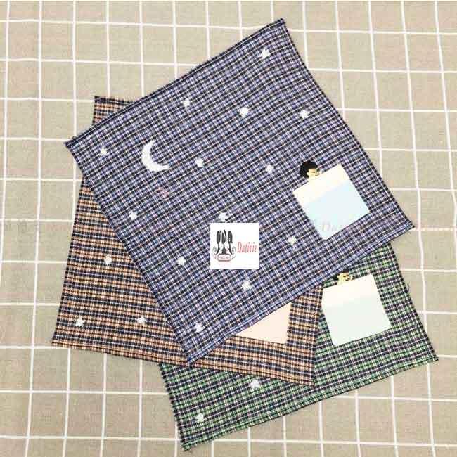毛巾 格紋 月亮 口袋造型 3色 純棉 小毛巾
