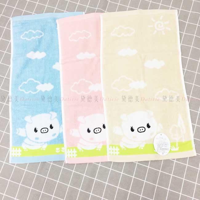 童巾 豬 純棉 3色 長巾