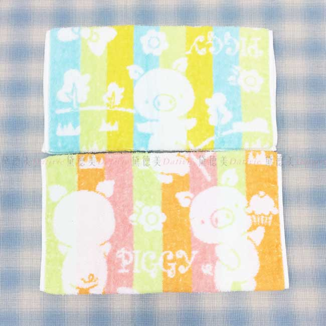 童巾 小豬 純棉 3色 長巾 毛巾