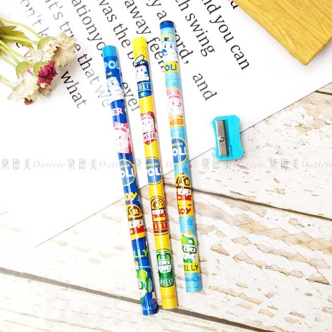 學前木頭鉛筆(3入)附削筆器 波力 POLI 救援小英雄 文具 正版授權