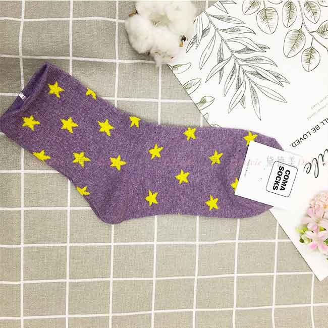 襪子 滿版 星星 紫色 親膚 長襪