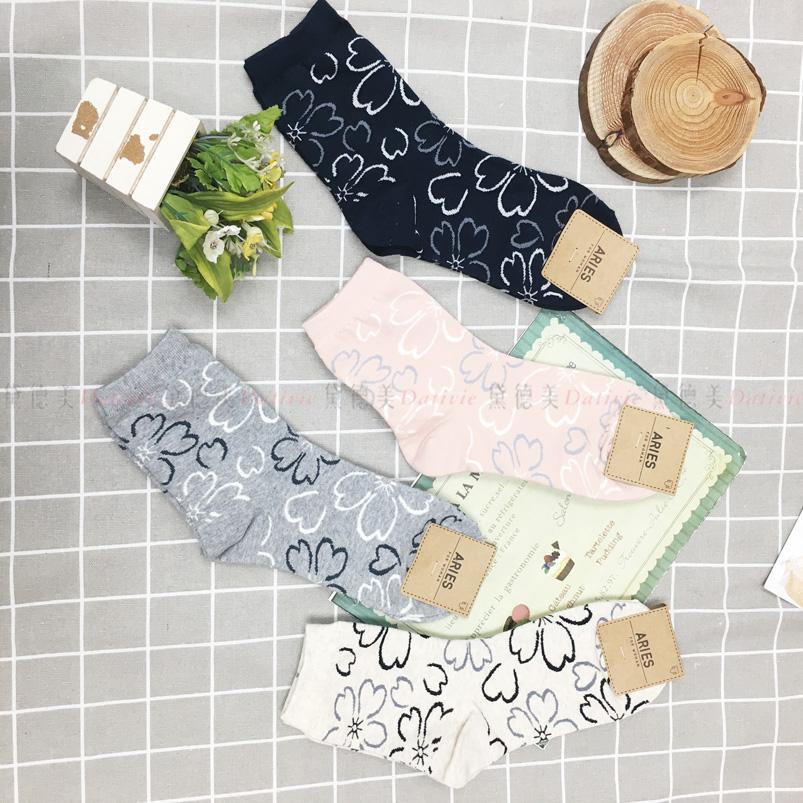 襪子 鏤空 線條花朵  親膚 長襪 四款