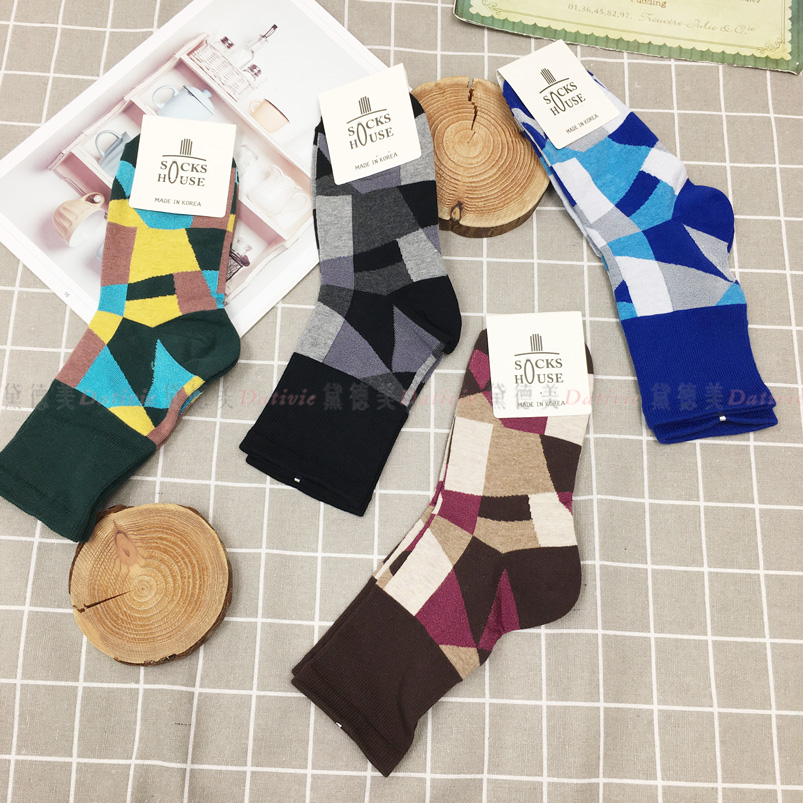 襪子 幾何 拼接 撞色 親膚 四款