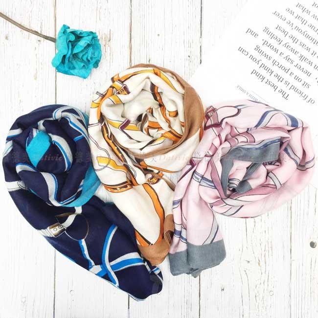 絲巾 絲圍巾 皮帶鎖鏈 親膚 3色