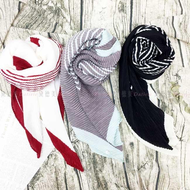 絲圍巾 撞色條紋 親膚 領巾 3色