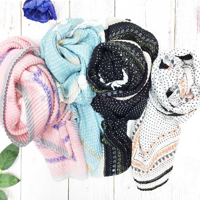 絲巾 絲圍巾 點點 葉圖騰 親膚 4色