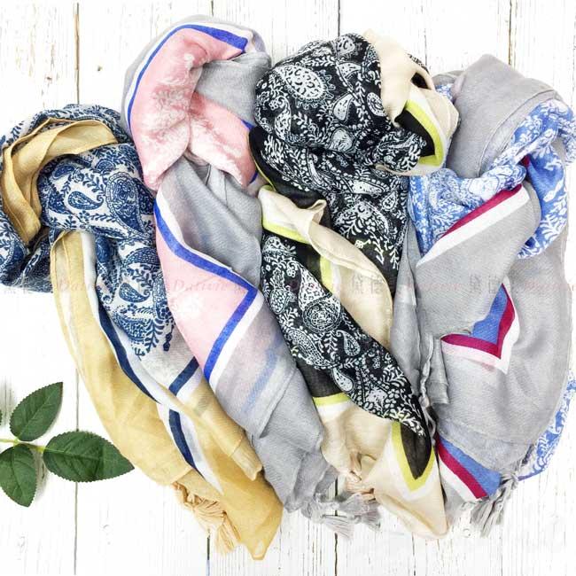 絲巾 絲圍巾 親膚 變形蟲 流蘇