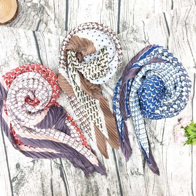 絲巾 絲圍巾 百褶造型 幾何 復古