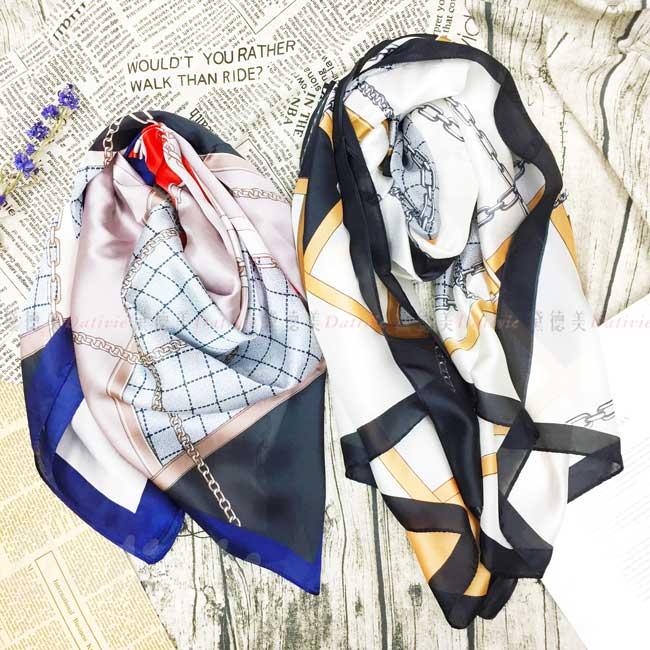 絲巾 親膚 鎖鏈 時尚感 絲圍巾