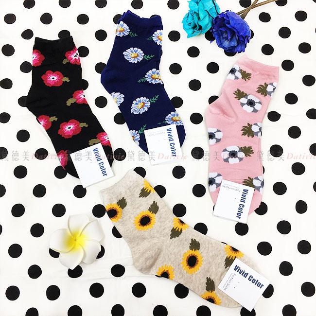 韓國 襪子 花朵 葉子 滿版 素色 黑 藍 粉 杏 4款 中長襪