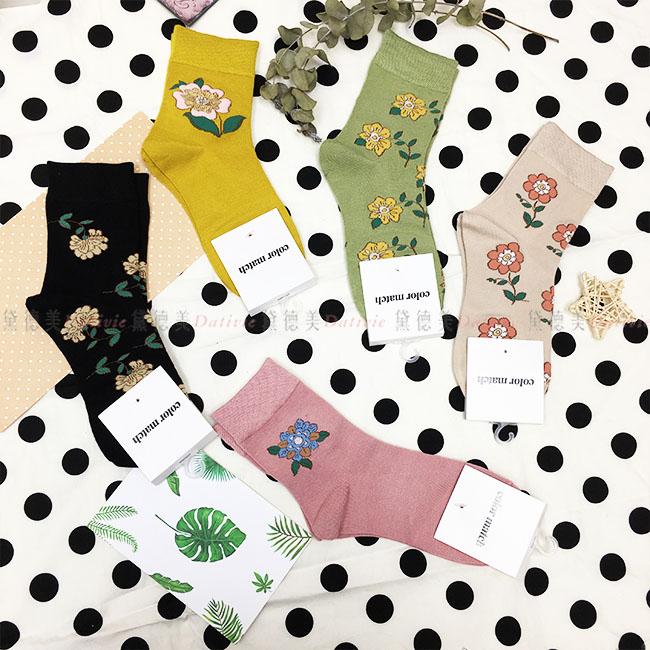 韓國 襪子 花朵 大圖 滿版 素色 黑 黃 綠 卡其 粉 5款 中長襪