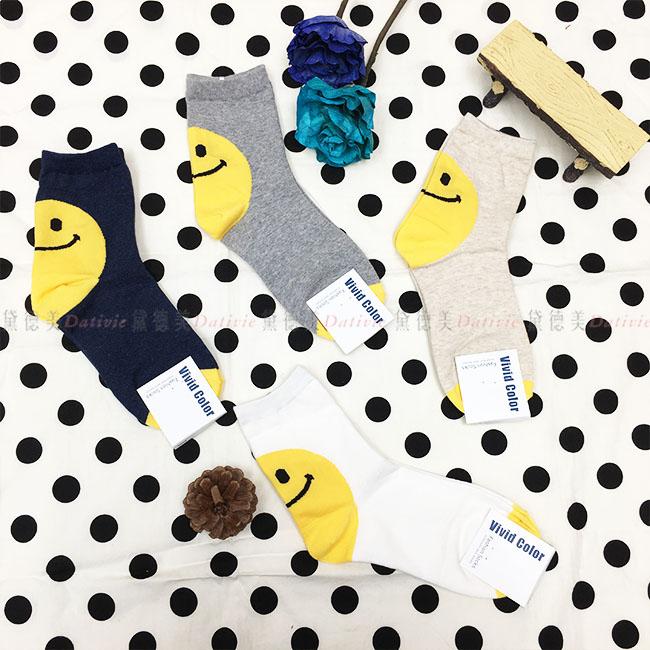 韓國 襪子 黃色笑臉 微笑 大臉 後腳跟 素色 藍 灰 杏 白 4款 中長襪