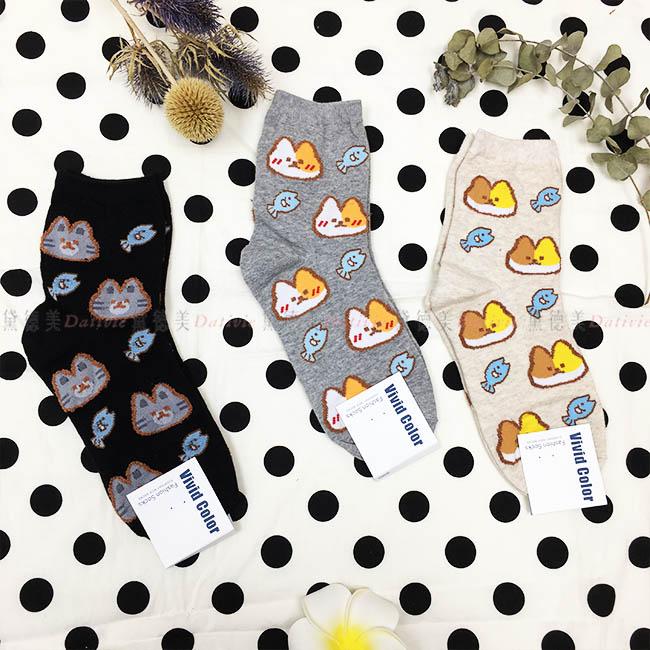 韓國 襪子 貓咪 小魚 滿版 毛茸茸 素色 黑 灰 杏 3款 中長襪
