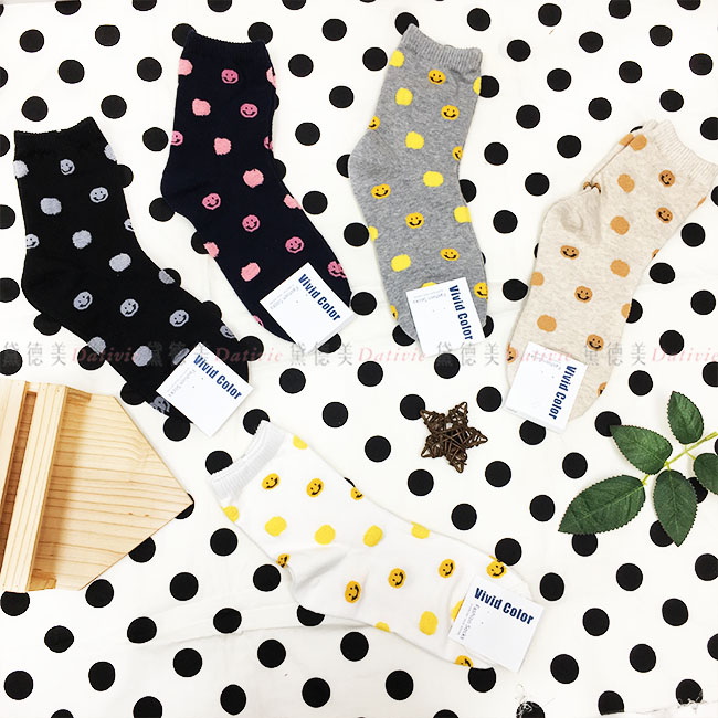 韓國 襪子 點點 笑臉 毛茸茸 滿版 素色 黑 藍 灰 杏 白 5款 中長襪