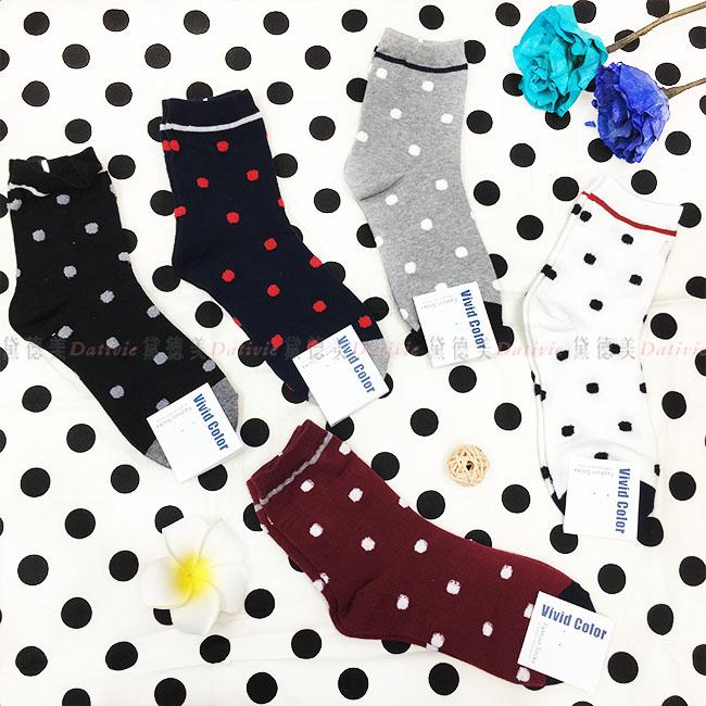 韓國 襪子 點點 毛茸茸 滿版 素色 黑 藍 灰 白 紅 5款 中長襪
