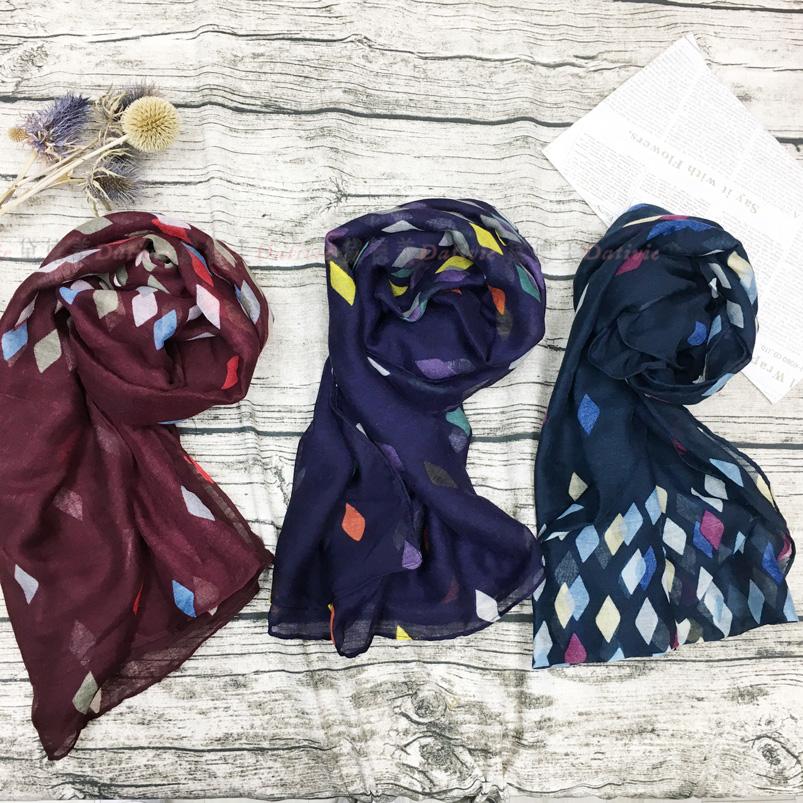 絲巾 薄絲巾 繽紛 菱形格 保暖 三款