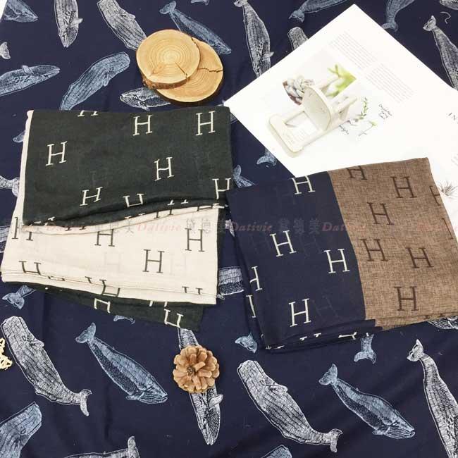 絲巾 H 撞色 薄圍巾