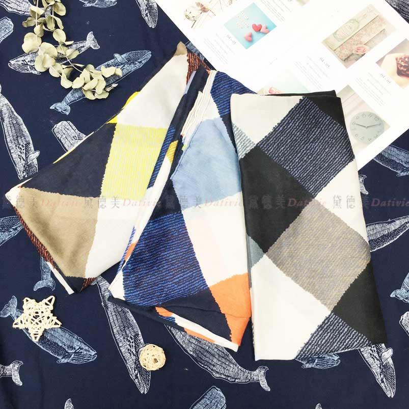 絲巾 繽紛格子 薄圍巾