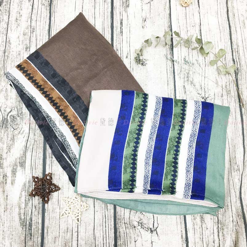 薄圍巾 菱形 條紋 絲巾