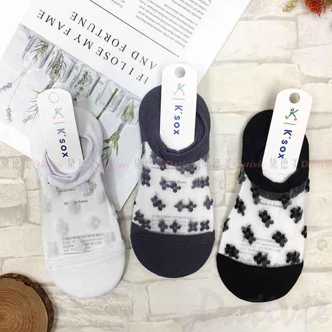 韓國襪 紗網鏤空 小花朵 花花 刺繡感 短襪 成人襪 襪子