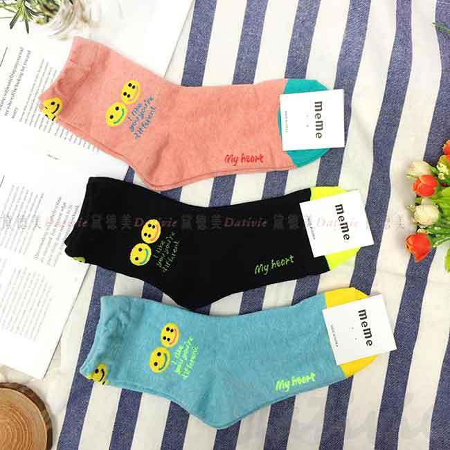 韓國襪 兩個笑臉  英文字 中長襪 成人襪 襪子