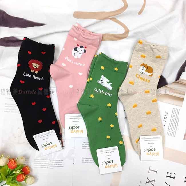 韓國襪 動物 貓咪 熊熊 狗狗 獅子 造型點點 中長襪 成人襪 襪子