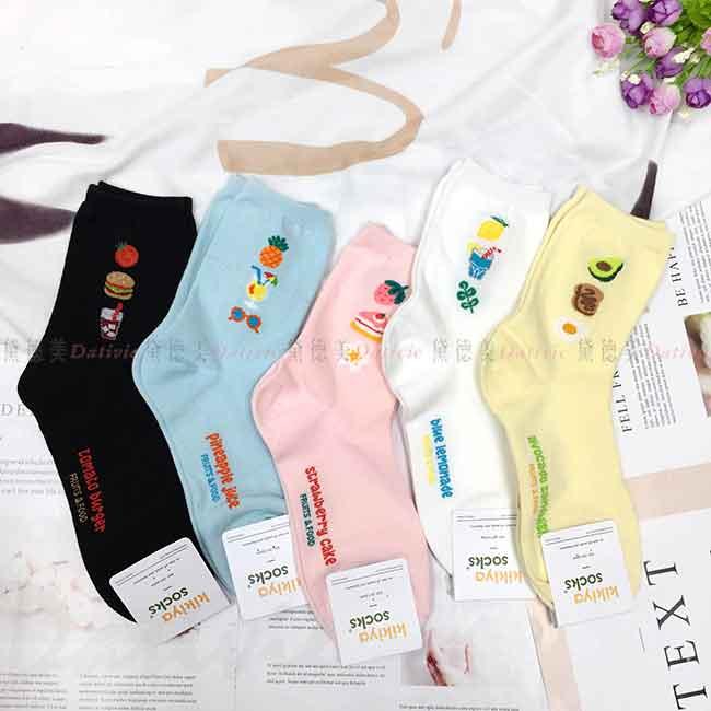韓國襪 可愛食物 漢堡 鳳梨 草莓蛋糕 酪梨水果 荷包蛋 中長襪 成人襪 襪子