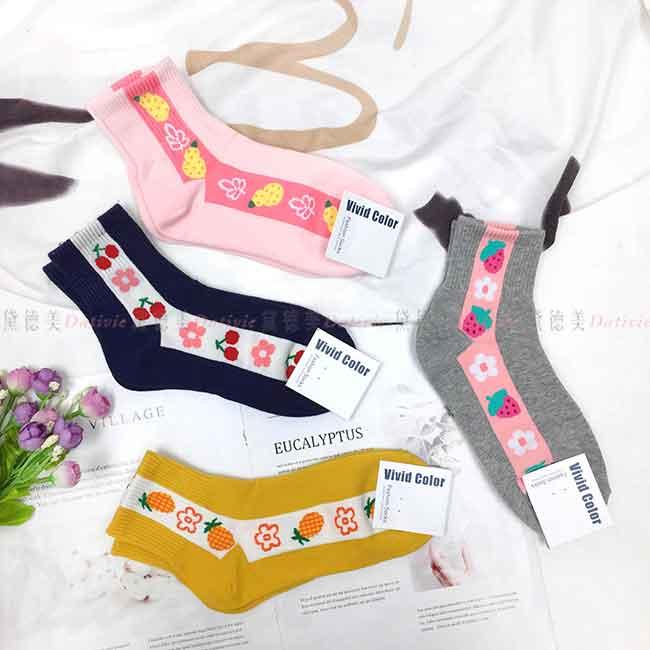韓國襪 線條 花朵 鳳梨 櫻桃 草莓 撞色 中長襪 成人襪 襪子
