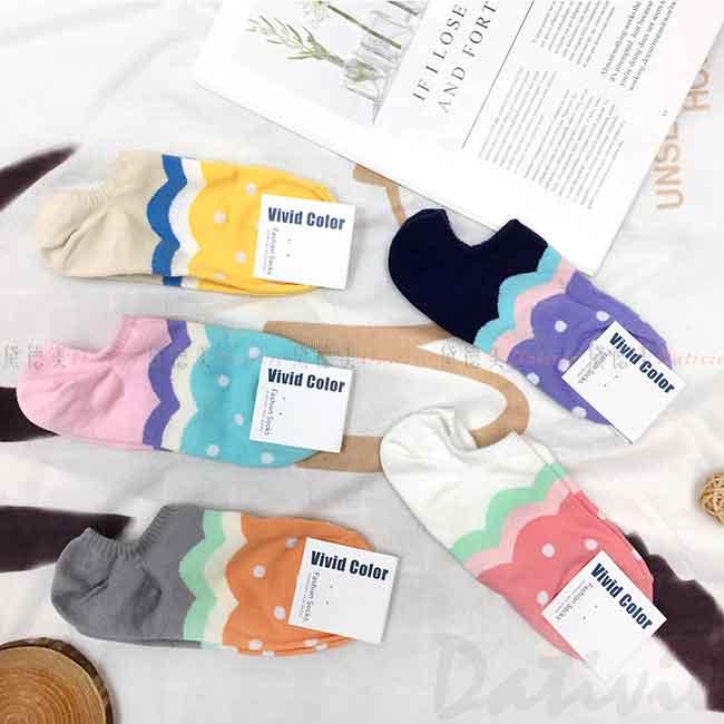 韓國襪 波浪紋 點點 可愛 撞色 短襪 成人襪 襪子