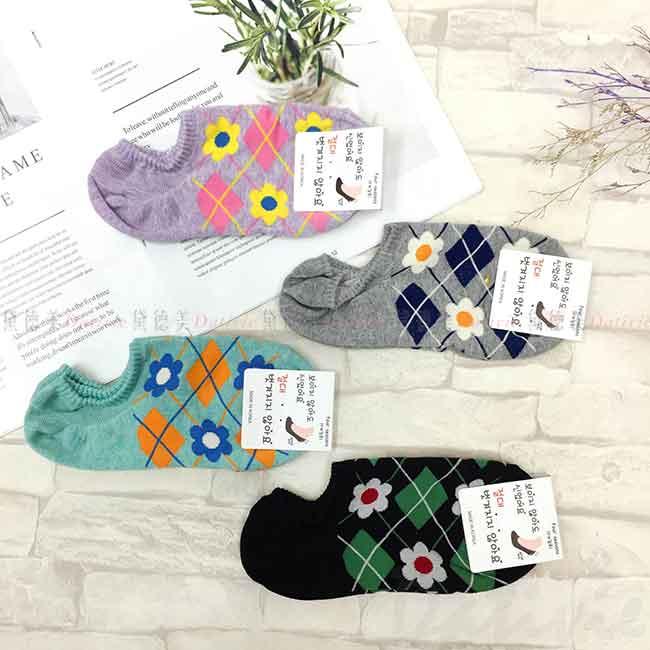 韓國襪 格紋 菱形紋路 花朵 短襪 成人襪 襪子