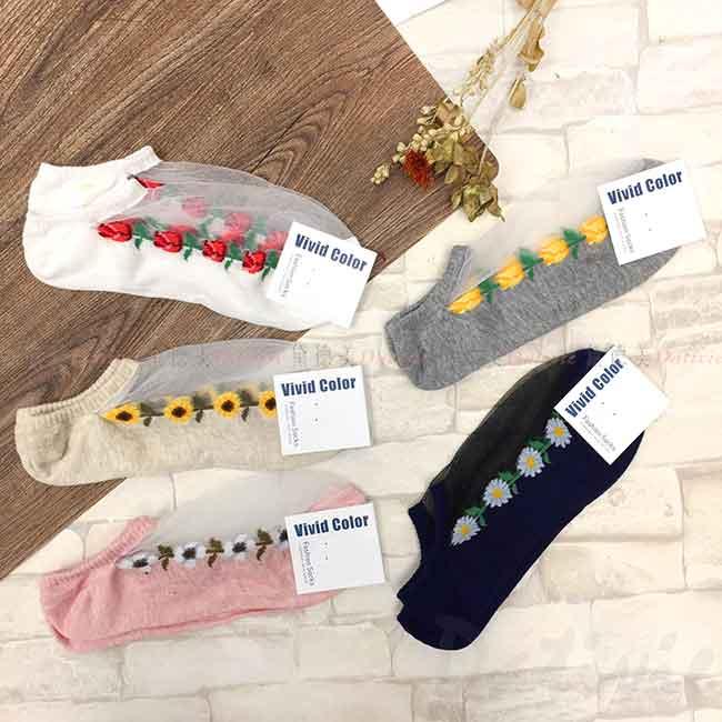 韓國襪 紗網鏤空 花朵 玫瑰 向日葵 氣質 短襪  成人襪 襪子