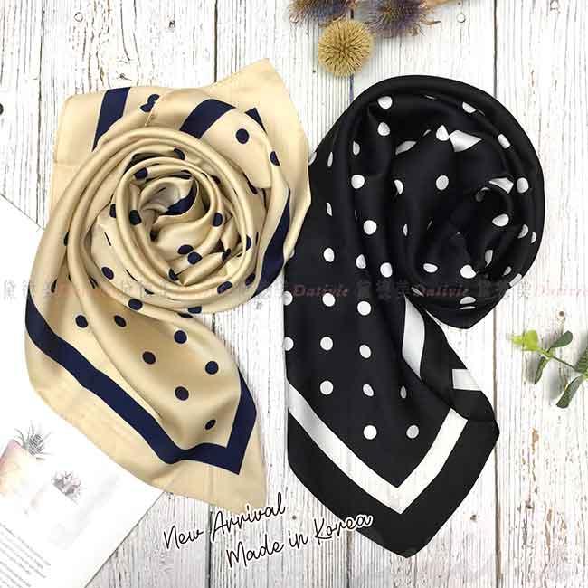 方巾 韓國 絲巾 點點 復古風 領巾