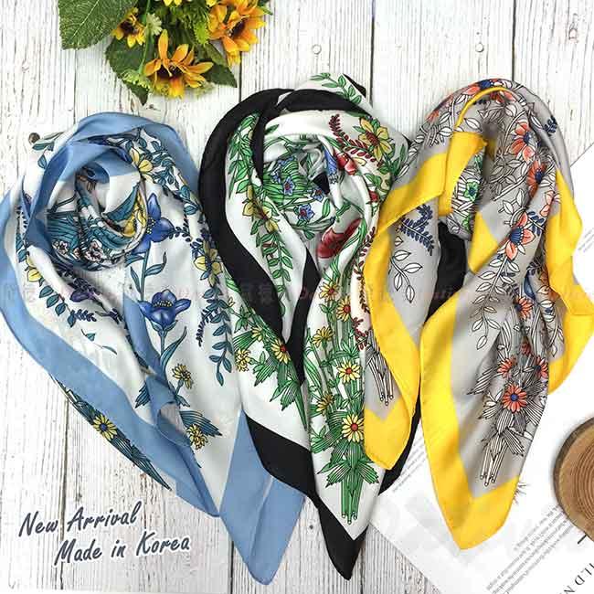 絲巾 韓國 方巾 三色 花圖騰 領巾